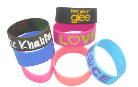 """Extra Wide Silicone Wristbands (25mm  / 1"""" wide) Completely Customized  image"""