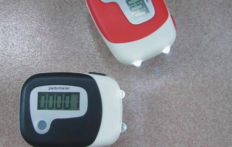 Pedometer with search light, custom-printed image