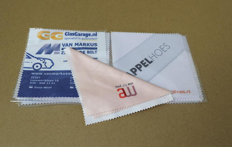 Small microfiber glasses cleaning cloth with custom print image