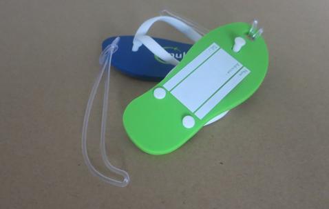 Slipper shaped luggage tag soft PVC 112 x 48mm with custom logo  image