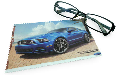 Microfiber glasses cleaning cloth 12x12cm with custom print image