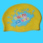 Silicone swimming cap with custom-print image